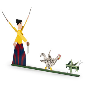 Whirligig with Woman, Chicken, and Grasshopper by Joe McFall