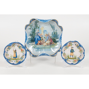 Quimper Platter and Bowls