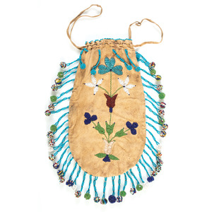 Santee Sioux Beaded Pouch, with American Flags
