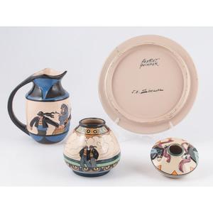 Quimper Sevellec Pitcher, Vases, and Platters