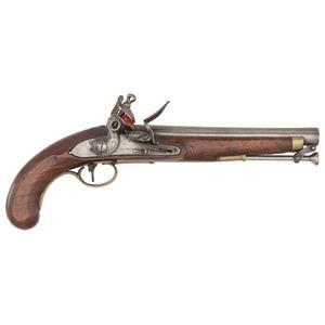 English Flintlock Military Pistol by H. Nock