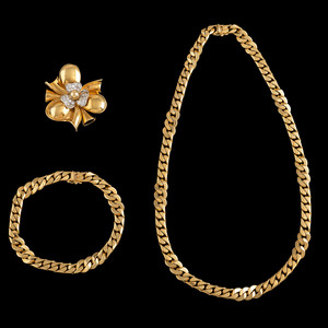 18k Gold Necklace, Bracelet, and Brooch/Pendant