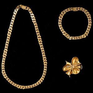18k Gold Necklace, Bracelet, and Brooch/Pendant