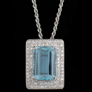 14k White Gold Aquamarine and Diamond Brooch/Pendant Necklace