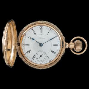 Waltham Bartlett 14k Gold Hunter Case Pocket Watch