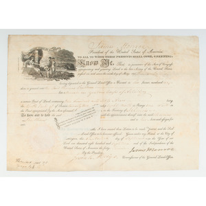 [Americana - Presidents - Autographs] Land Grant Signed by President James Monroe and Commissioner Josiah Meigs - 1818 on Vellum; Illinois Lands