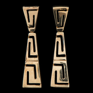 14k Gold Greek Key Motif Earrings