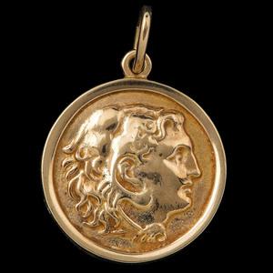 14k Gold Greek Coin Pendant