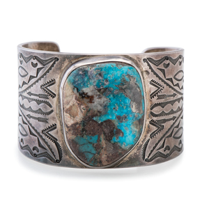 Mark Chee (Dine, 1914-1981) Navajo Silver and Turquoise Cuff Bracelet