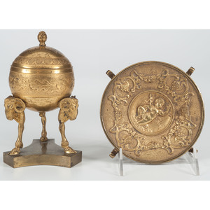 A Neoclassical-style Brass Inkwell, Plus