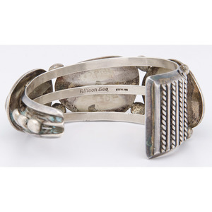 Allison Lee (Dine, 20th century) Navajo Sterling Silver and Turquoise Cuff Bracelet