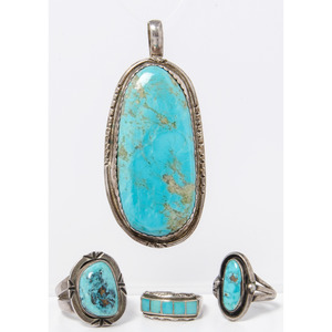 Navajo Silver and Turquoise Pendant and Rings