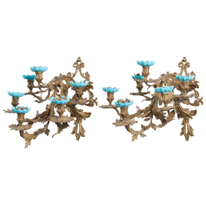 Pair Bronze Six-Light Sconces with Glass Inserts