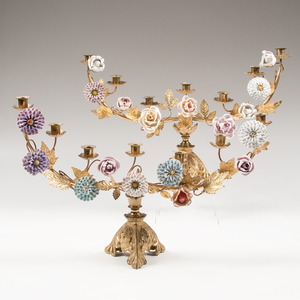 Pair Six-Light Candelabra with Porcelain Flowers