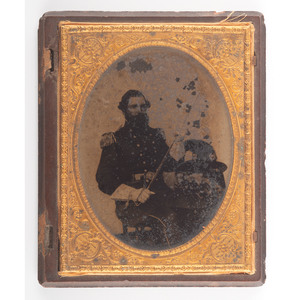 Confederate, Virginia Major William Saunders, 9th Virginia Militia/87th Virginia, Armed Half Plate Ambrotype Plus Personal Items