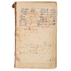 John Dillinger Personal Belongings, Incl. Family Bible, Gown, Baby Shoes, and Shirt
