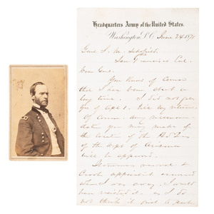 William T. Sherman ALS, June 1871, Plus CDV