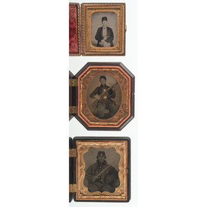 Trio of Cased Images Featuring Armed Civil War Soldiers