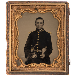 Extremely Clear Sixth Plate Tintype of Double-Armed Soldier, Possibly Confederate