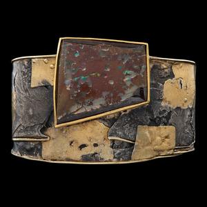 18k Gold, Silver, and Boulder Opal Cuff Bracelet