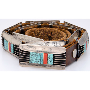Silver, Turquoise, and Coral Concha Belt, From the Collection of Robert B. Riley, Urbana, IL