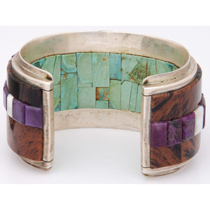 Michael and Cassandra Dukepoo (Hopi / Yaqui, 20th century) Sterling Silver and Inlay Cuff Bracelet, From the Collection of Robert B. Riley, Urbana, IL
