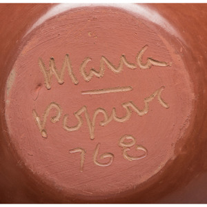 Maria Martinez and Popovi Da (San Ildefonso, 1887-1980 / 1922-1971) Redware Pottery Jar