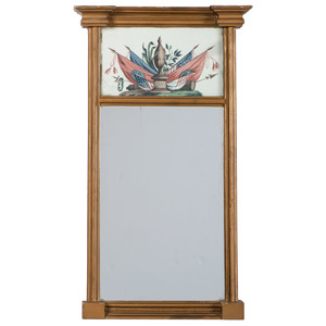 George Washington Federal Style Mirror with Reverse Glass Painting