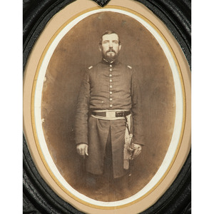 Civil War Patriotic Cast Iron Frame Containing Photograph of Union Officer