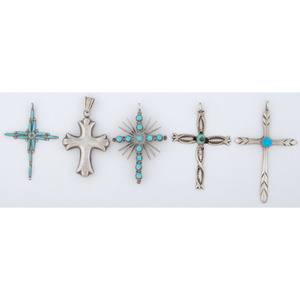 Zuni and Navajo Silver and Turquoise Cross Pendants, with Pawn Tickets