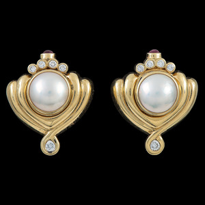 Lagos 18k Gold Diamond and Cultured Pearl Earrings