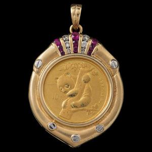 18k Gold 1996 10 Yuan Coin Pendant