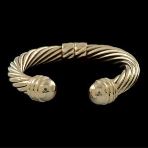 David Yurman 14k Gold Hinged Cable Cuff Bracelet