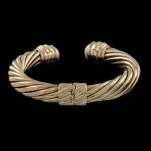 David Yurman 14k Gold Mabe Pearl Cable Cuff Bracelet