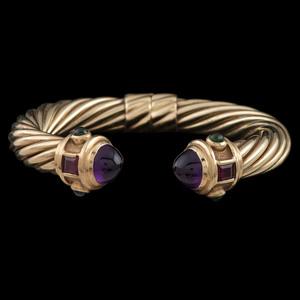 David Yurman 14k Gold Multi-Gemstone Cable Cuff Bracelet
