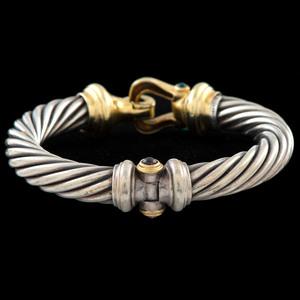 David Yurman 14k and Silver Gemstone Cable Bracelet