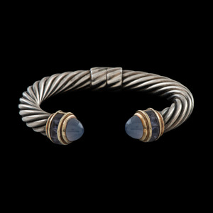 David Yurman 14k and Sterling Silver Cable Cuff Bracelet