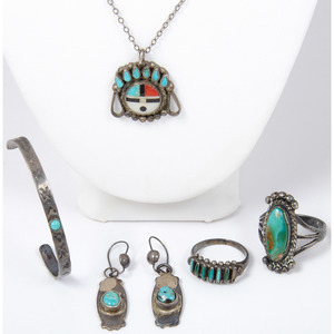 Navajo and Zuni Turquoise and Silver Jewelry
