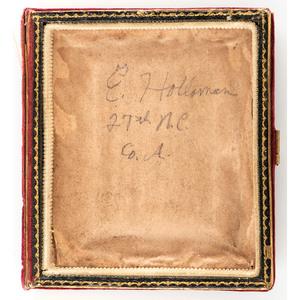 CSA Private Ezekiel Holloman, 27th North Carolina Infantry, KIA Bristoe Station, VA, Double-Armed Sixth Plate Ambrotype