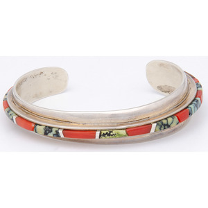 Phillip Sekaquaptewa (Hopi, 1948-2003) Silver Inlay Cuff Bracelet