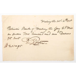 Captain David Porter, Payment Note Signed, 1818