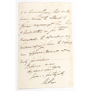 British General and 1st Viscount, Rowland Hill, Autograph Letter Signed, 1834