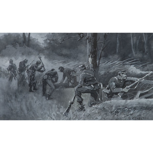 Three Union Infantrymen Erecting a Wooden Stake, Civil War Gouache by William H. Shelton