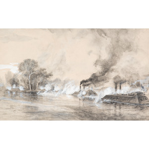 Attacking Confederate Batteries at Watson's Landing, Watercolor by Frank H. Schell and Thomas Hogan