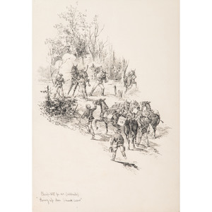 John R. Chapin, Original Pen and Ink Sketch Depicting Mules Carrying Mountain Howitzers