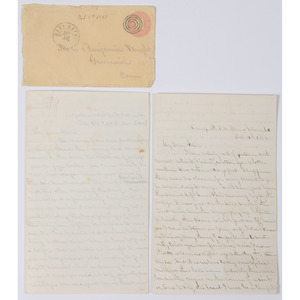 Pair of Civil War Letters by First Lieutenant Benjamin T. Wright, 10th Connecticut Infantry, with Naval Interest