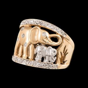 14k Bicolor Gold Diamond Elephant Ring