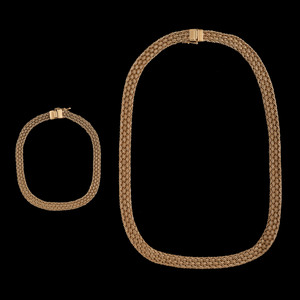 14k Gold Woven Necklace and Bracelet