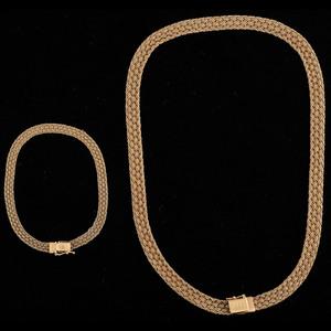 14k Gold Woven Necklace and Bracelet