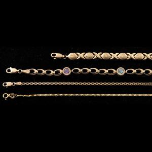Gold Bracelet and Anklets, Lot of Four